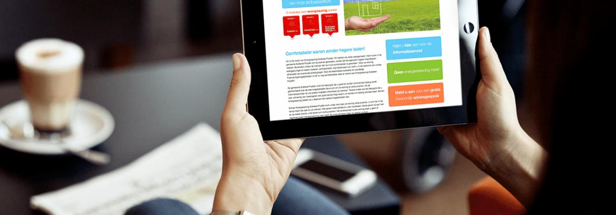 Website energiesprong gemeente Sudwest Fryslan